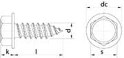 Vite Autofilettante Testa Esagonale con bordino