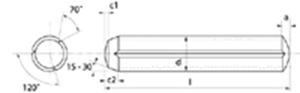 Immagine di Spine con intagli paralleli e smusso di introduzione (Kerb)